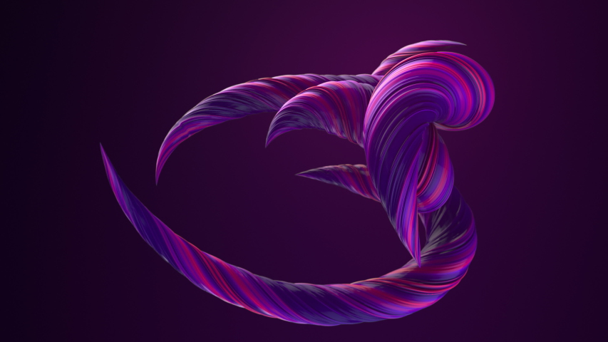 Pink colored twisted shapes. Computer generated abstract geometric 3D render loop animation. 4K, Ultra HD resolution. | Shutterstock HD Video #1032214445