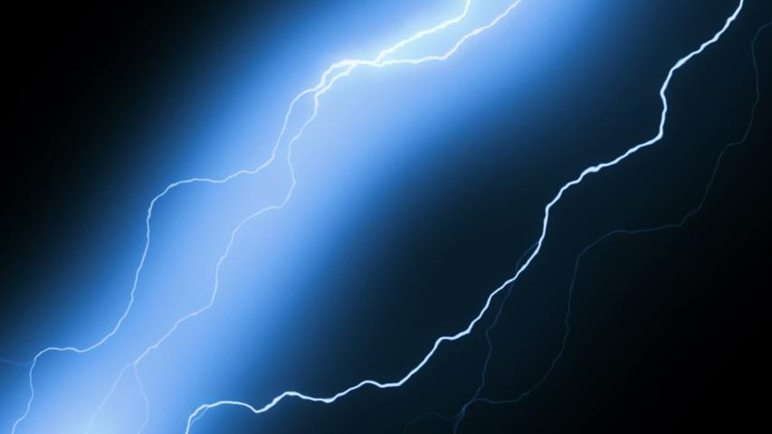 Lightning strikes set over black background #1032223175