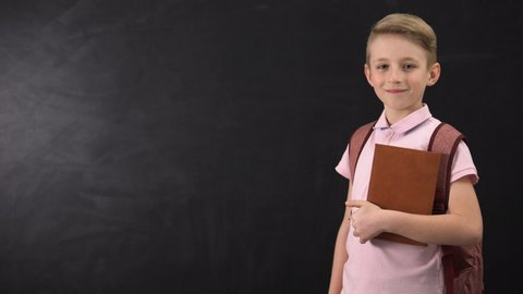 Diligent schoolboy holding textbook, standing near blackboard, education system