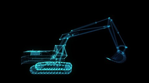 Glowing blue light particles point of Excavator Machine model. Seamless looping motion animation in 3d virtual space. Technology motion concept.