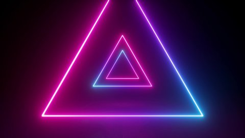 abstract neon background, flying back through triangular corridor, tunnel, appearing glowing pink blue shapes, ultraviolet spectrum