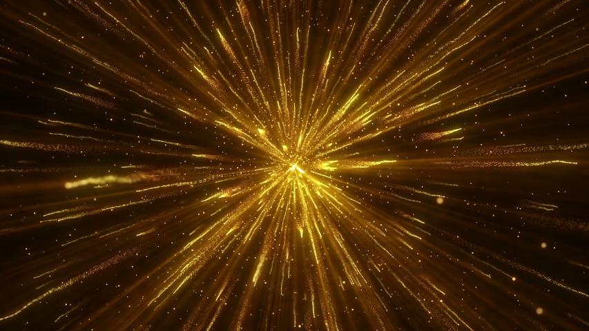 Explosion gold lights sparkles. Glowing light explodes. Flare in center. 4k Festive golden motion background. | Shutterstock HD Video #1032491645