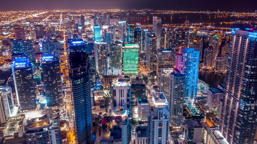Miami Time lapse, Hyperlapse Of traffic on Miami city streets at night. Best Miami Aerial shot and top view of Miami downtown traffic on freeway. Shot on 4K camera.