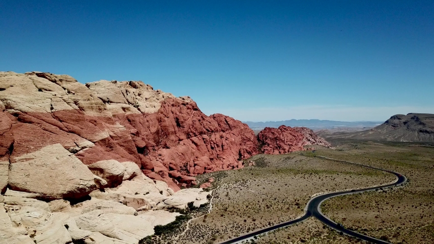 Drone flyover of Calico Hills at Red Rock Canyon National Conservation area Las Vegas Nevada.   Shutterstock HD Video #1032597035
