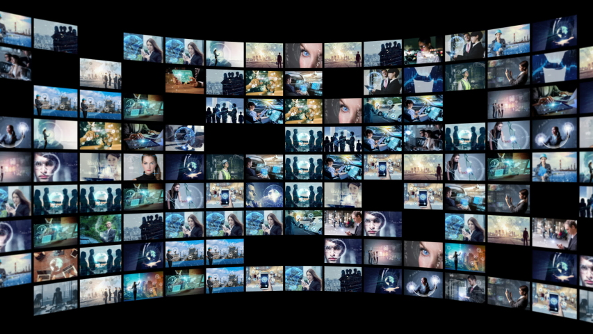 A lot of pictures in cyberspace. Social media. Streaming video. | Shutterstock HD Video #1032649445