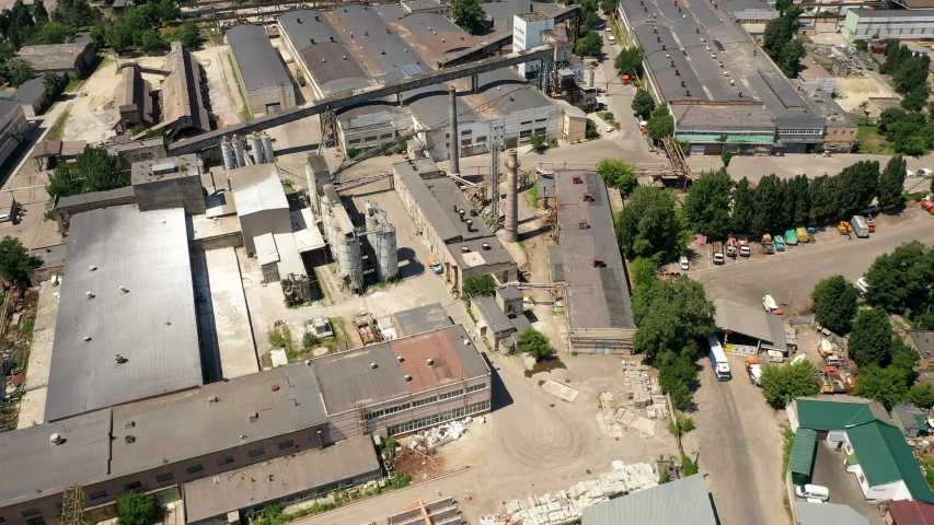 View from above of large industrial plant and process in factories | Shutterstock HD Video #1032702125