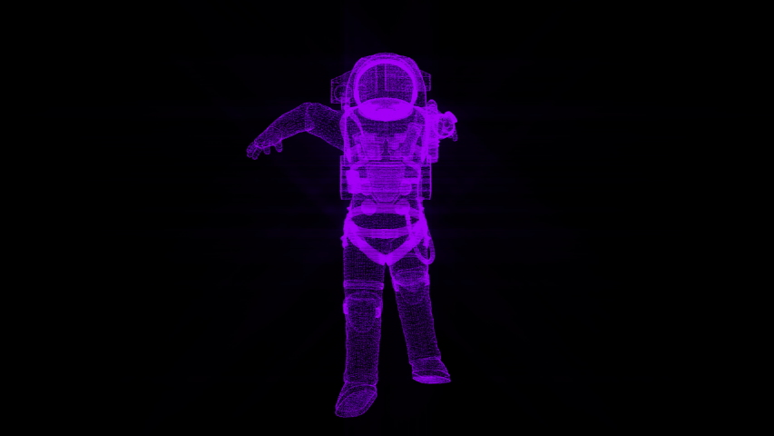 Astronaut in modern scaphandre from many small particles is in the space, 3d render background, computer generated backdrop | Shutterstock HD Video #1032708335