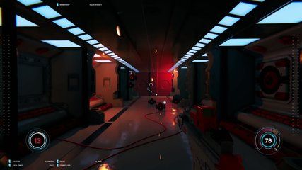 3D mock up scene of first person shooter. Battle in space with GAME OVER text at the end