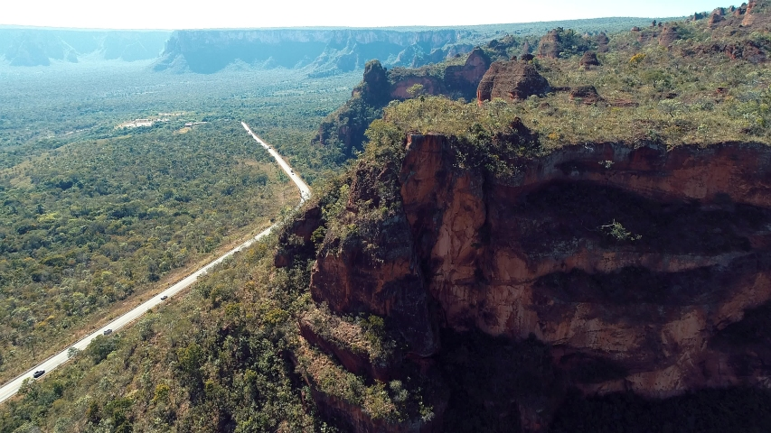 Aerial view of MT 351 road, way to Chapada dos Guimarães, Mato Grosso, Brazil. Great landscape. Travel destination. Vacation travel. Touristic point. | Shutterstock HD Video #1032790505