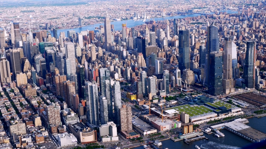 New York City 2019 AERIALS.  Late afternoon, 2,000 ft, viewing Easr from Hudson River. | Shutterstock HD Video #1033040705
