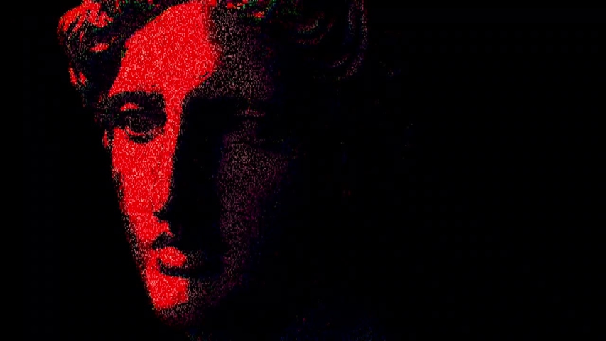 Apollo bust. Digital pixel noise glitch art effect. Retro futurism 80s 90s dynamic wave style. Video signal damage with tv noise and old screen interference. Retro wave, synth wave theme. | Shutterstock HD Video #1033051625