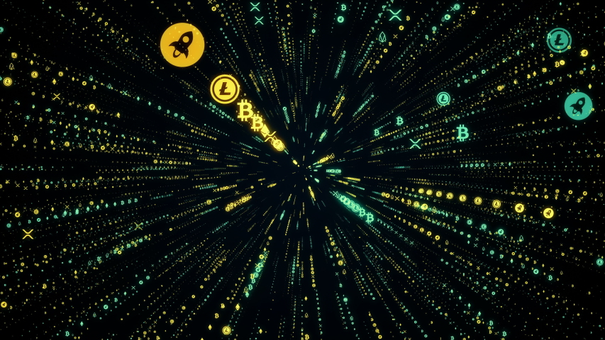 Cryptocurrency symbols stream seamless loop. Digital futuristic data tunnel. Computer network connection, crypto and blockchain concept.  | Shutterstock HD Video #1033052975