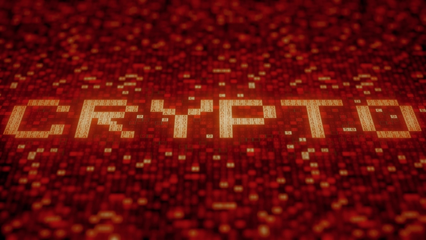 Hexadecimal symbols on a red display compose CRYPTO word. Loopable 3D animation | Shutterstock HD Video #1033057205