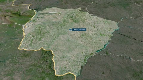 Mato Grosso Do Sul - state of Brazil with its capital zoomed on the satellite map of the globe