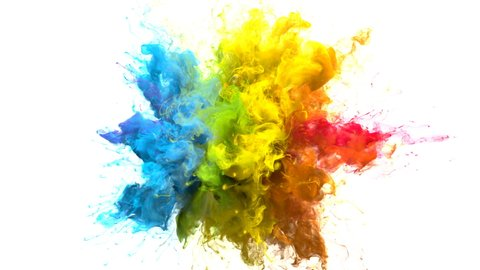 Color Burst iridescent multicolored colorful rainbow smoke powder explosion fluid ink particles slow motion alpha matte isolated on white