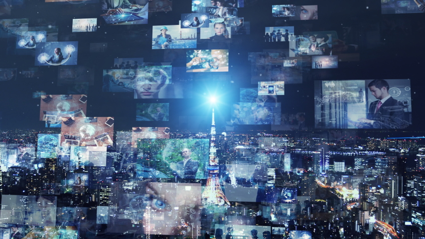 Screens of multimedia concept. Social media. Streaming video. | Shutterstock HD Video #1033197875