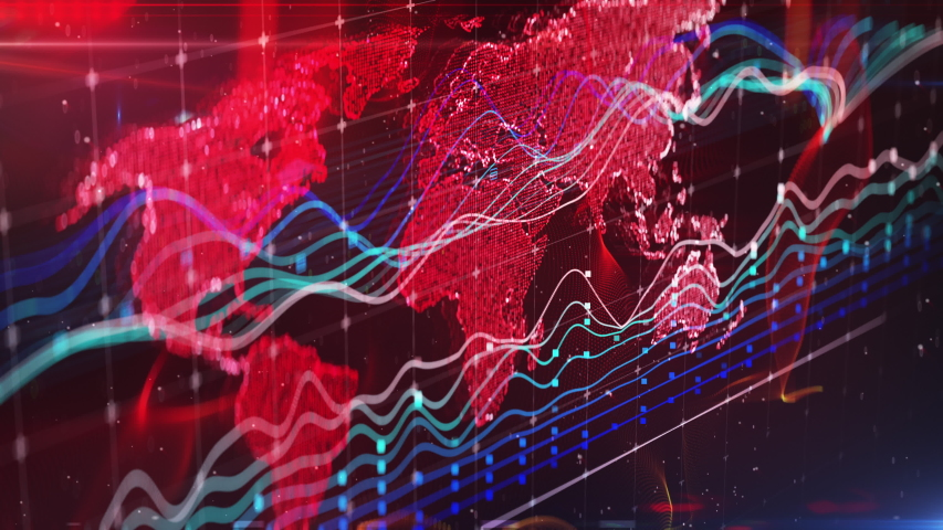 Financial news report background, stock market, world map, graphs and charts. International news, simple backgrounds | Shutterstock HD Video #1033331405