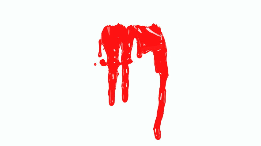 4K Blood dripping down on white background.Red paint dripping down  | Shutterstock HD Video #1033403405