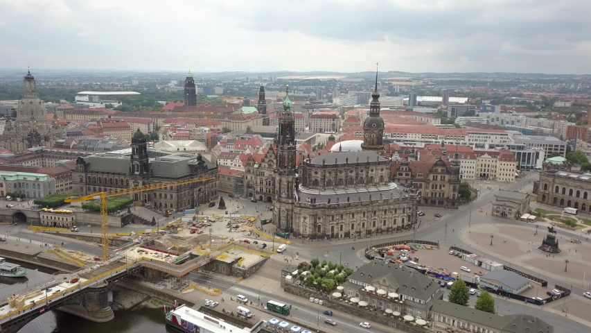 Attractive architecture of ancient and modern buildings located in the center of Dresden. | Shutterstock HD Video #1033427795