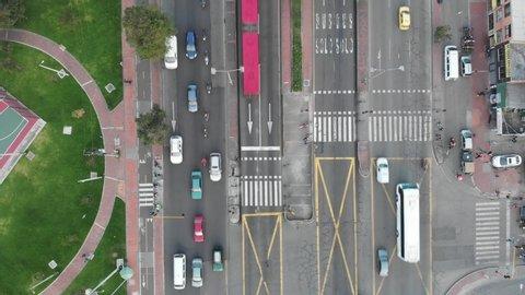 Bogota,  Transmilenio, aerial shot of 80th street avenue