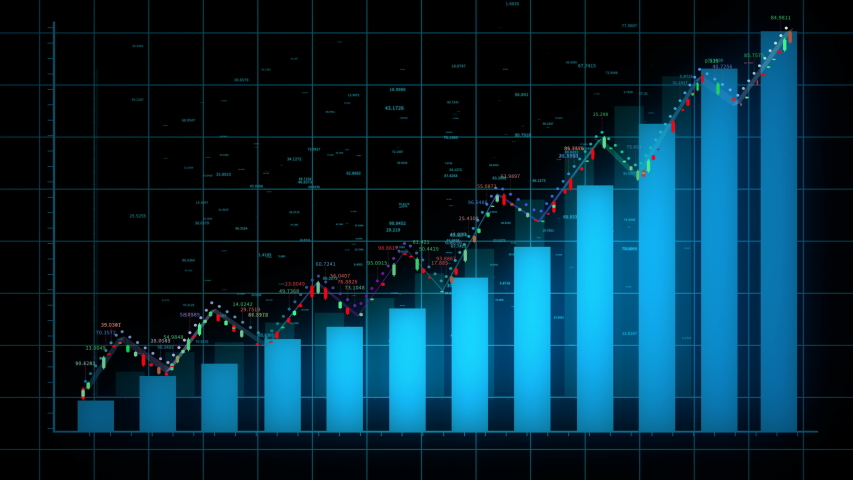 4k Financial data and diagrams showing a steady increase in profits,growing charts and flowing counters of numbers,Economy background,Business digital Data trend hud Graph,Stock Market.  | Shutterstock HD Video #1033458335