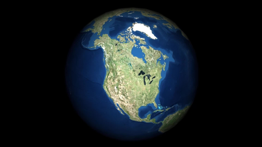 Animation of the globe rotating until earth gets to the Hawaiian Islands.
