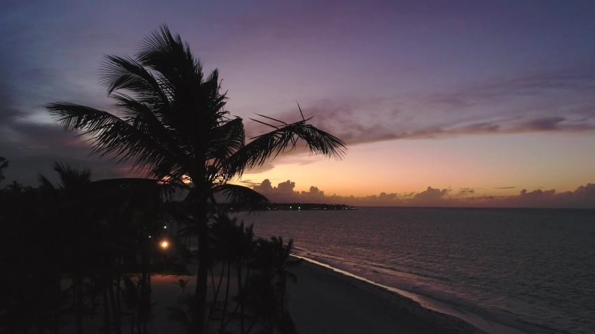 Beautiful Tropical Sunset over Ocean, Colorful Sky Aerial Drone 4K | Shutterstock HD Video #1033582685