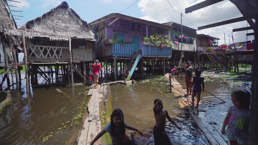 Iquitos, Peru. Circa 2019. indigenous People live in amazon river pueblo