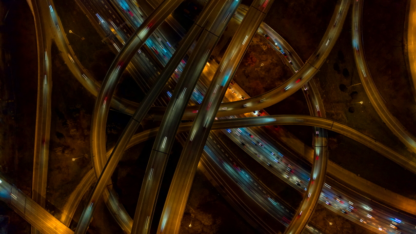Atlanta Aerial v497 Vertical night view ascending rotating hyperlapse over interchange - January 2019