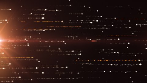 Abstract technology background with animation of fast flying flickering code particles as data transfer. Seamless loop 3d render. Modern orange color spectrum