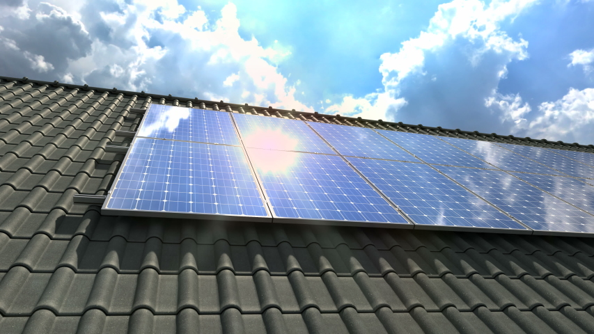 Solar panels modules on roof on a clear sunny day - 4k   Shutterstock HD Video #1033956035