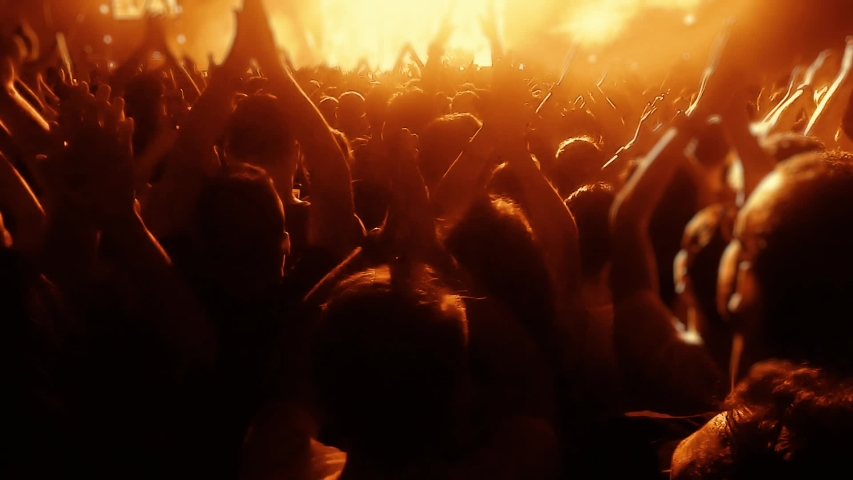 Concert crowd and concert stage and concert hall. Crowd singing artist cheering, rock music, pop music, slow music, rap music scene shows. Concert BEST FOOTAGE Serial-2 | Shutterstock HD Video #1034009435