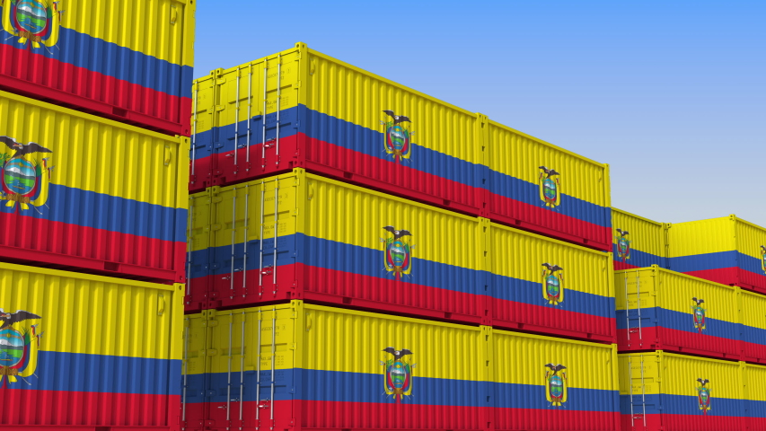 Container yard full of containers with flag of Ecuador. Ecuadorian export or import related loopable 3D animation   Shutterstock HD Video #1034009525