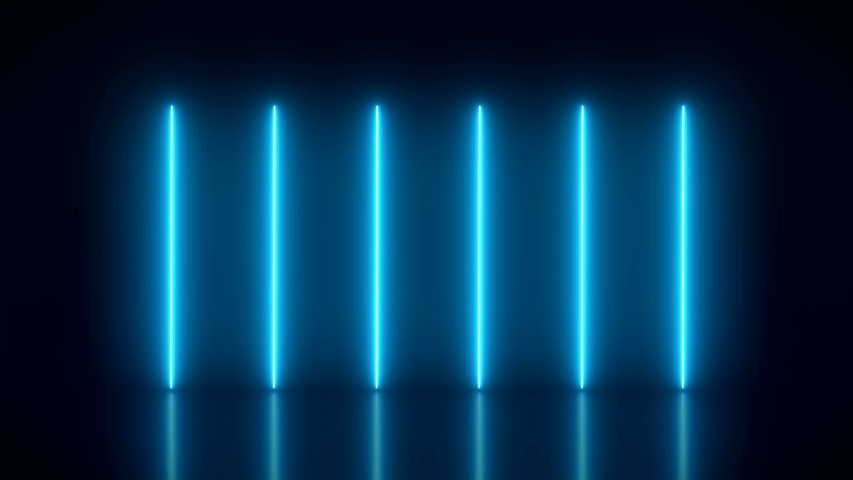 Video animation of glowing vertical neon lines in blue on reflecting floor. - Abstract background - laser show | Shutterstock HD Video #1034130125