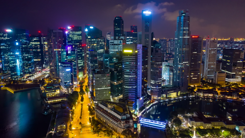aerial view hyperlapse 4k video of the Marina Bay Sands in Singapore City Skyline. #1034238905
