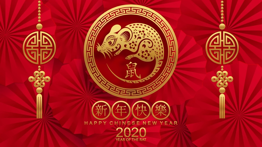 Happy chinese new year 2020 year of the rat ,paper cut rat character,flower and asian elements with craft style on background.  (Chinese translation : Happy chinese new year 2020, year of rat) | Shutterstock HD Video #1034453165
