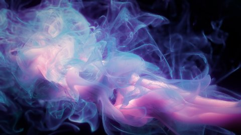 Purple pink color paint ink drops in water slow motion art background with copy space. Inky cloud swirling flowing underwater. Abstract smoke explosion animation isolated on black alpha channel