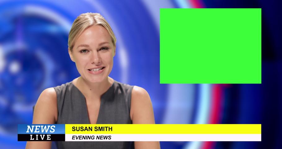 News presenter reading the evening news | Shutterstock HD Video #1034745635