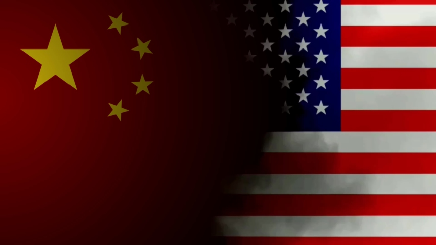 Usa China trade war concept animation with flags and smoke. Trade war settle. economic conflict and trade barriers | Shutterstock HD Video #1034784875