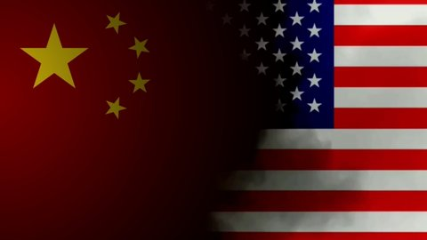 Usa China trade war concept animation with flags and smoke