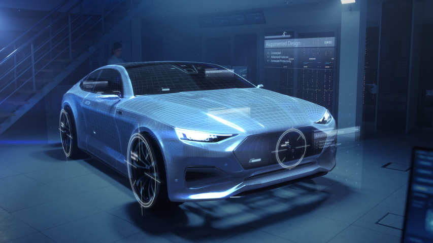 Female Automotive Engineer Uses Digital Tablet with Augmented Reality for Car Design Improvement. 3D Graphics Visualization Shows Fully Developed Vehicle Prototype Analysed and Optimized in Real Time | Shutterstock HD Video #1034861855