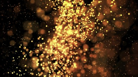 gold shiny sparkling particles move in a viscous liquid. It is bright festive background with glittering particles depth of field, bokeh and luma matte as alpha channel. 4k 3d animation v67