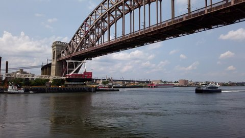 East River Ferry Passing Stock Video Footage - 4K and HD
