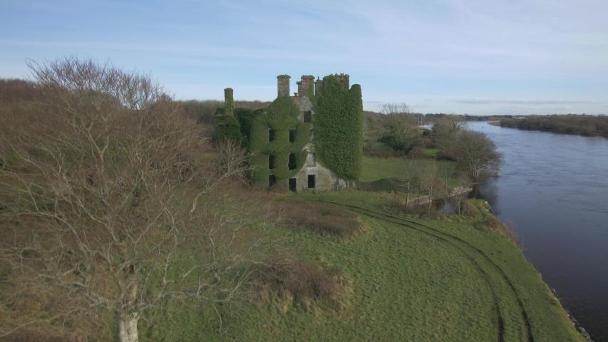 Aerial view, River Corrib, Menlo castle ruins, Irish countryside. Galway. | Shutterstock HD Video #1035101285