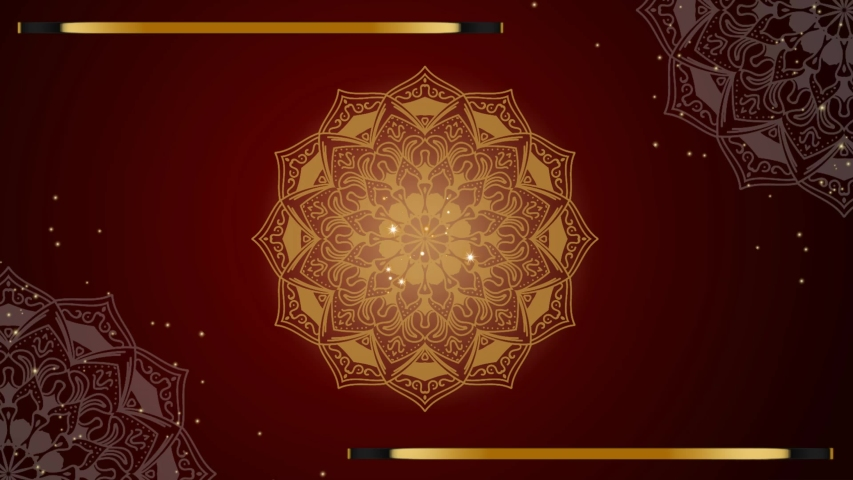 Beautiful abstract pattern Luxury royal background. Golden luxury royal, golden line seamless, gold ornament loop motion. 4K red abstract background.