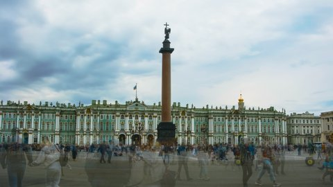 Time lapse of a Palace Square in Saint-Petersburg. Alexander Column and Hermitage.