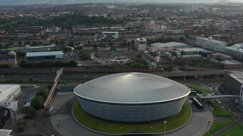 GLASGOW, UK - 2019: Glasgow SSE hydro venue aerial shot