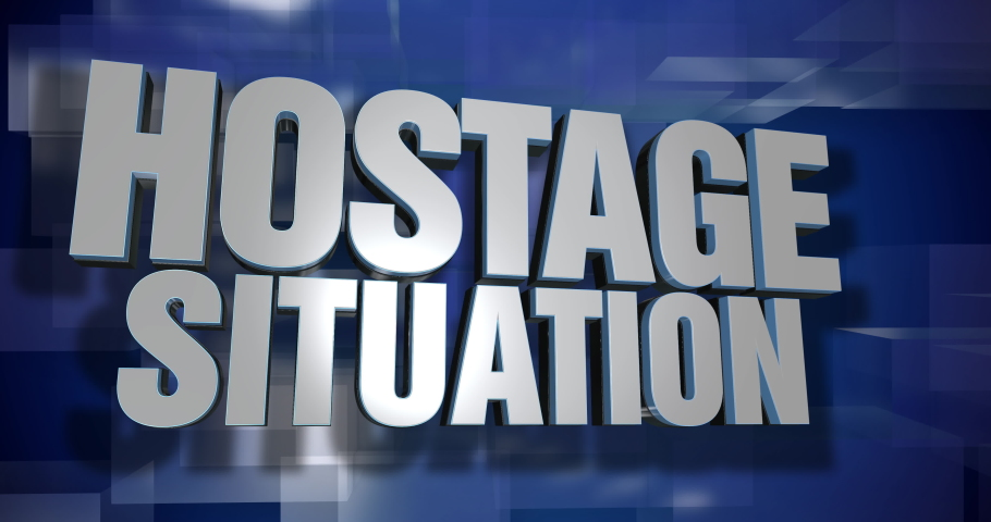 A blue dynamic 3D Hostage Situation news transition and title page animation. 5 and 2 second options included. Green screen.	 	 | Shutterstock HD Video #1035210605