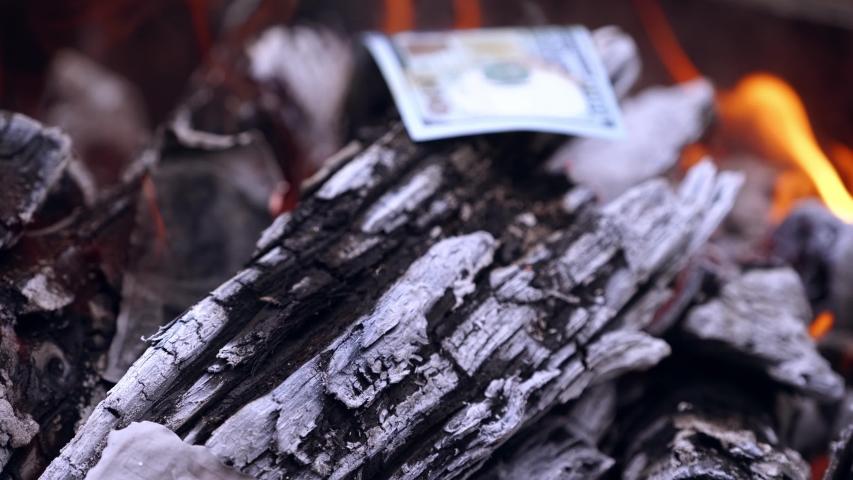 American dollar bills in fire. Money burns in large bonfire in the open air | Shutterstock HD Video #1035341105