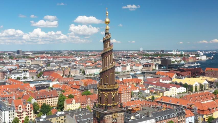 Flying around the Vor Frelsers Kirke, Church of our Savior, Copenhagen, Denmark | Shutterstock HD Video #1035347735